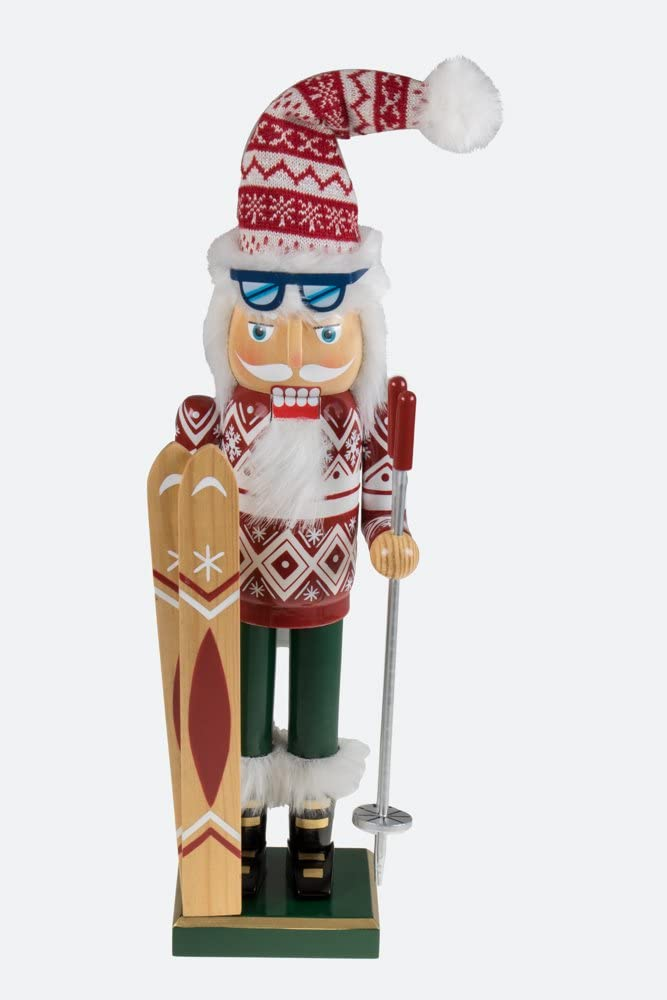 """Clever Creations Traditional Wooden Santa Skier Christmas Nutcracker Collectible Mr. Claus in Ski Sweater 