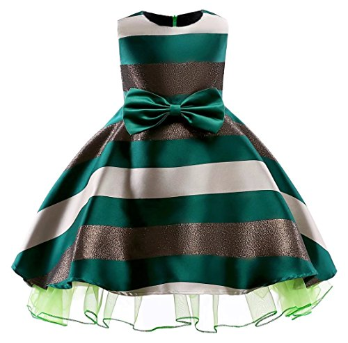 Oukaiyi Litter Big Girl Dress Princess Gowns Party Wedding Dresses(Green,5-6Y)