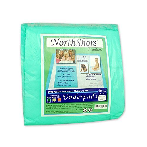 Pack 10 Green 40 oz. Northshore Premium, 36 x 36, 40 oz, Puppy Pads, Green, Ultra Large, Pack 10