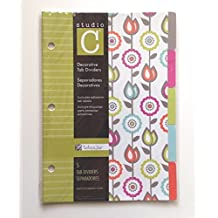 "Studio C Decorative 5 Tab Dividers, 6"" x 8.5"" - for 8.5"" x 5.5"" Ring Binders, Tartan & Jane Design - Single Set"