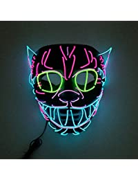 QUEENSAID LED Light Up Mask from Purge Halloween, Cosplay LED Mask for Festival