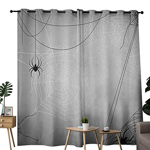 (NUOMANAN Bedroom Curtains 2 Panel Sets Spider Web,Spiders Hanging from Webs Halloween Inspired Design Dangerous Cartoon Icon, Grey Black White,Complete Darkness, Noise Reducing Curtain)