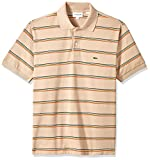 Lacoste Men's Short Sleeve Striped Pique Regular Fit Polo, PH4565, Kraft Beige/Multico, XXL