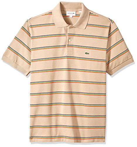 Lacoste Men's Short Sleeve Striped Pique Regular Fit Polo, PH4565, Kraft Beige/Multico, X-Large