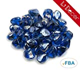 Li Decor 10 Pounds Fire Glass Fire-Diamonds Semi-Reflective for Fire Pit Glass,Fireplace Glass Rocks,Fireplace Decor,Fire Pit Accessories,1-Inch,Cobalt Azure Luster (Blue)
