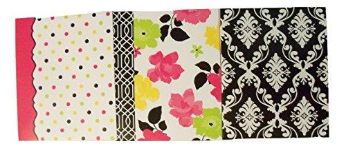 Carolina Pad Studio C 3 Folder Set ~ Fashionista (Multicolored Dots, Flowers with Scroll Edge, Black & White Scroll)