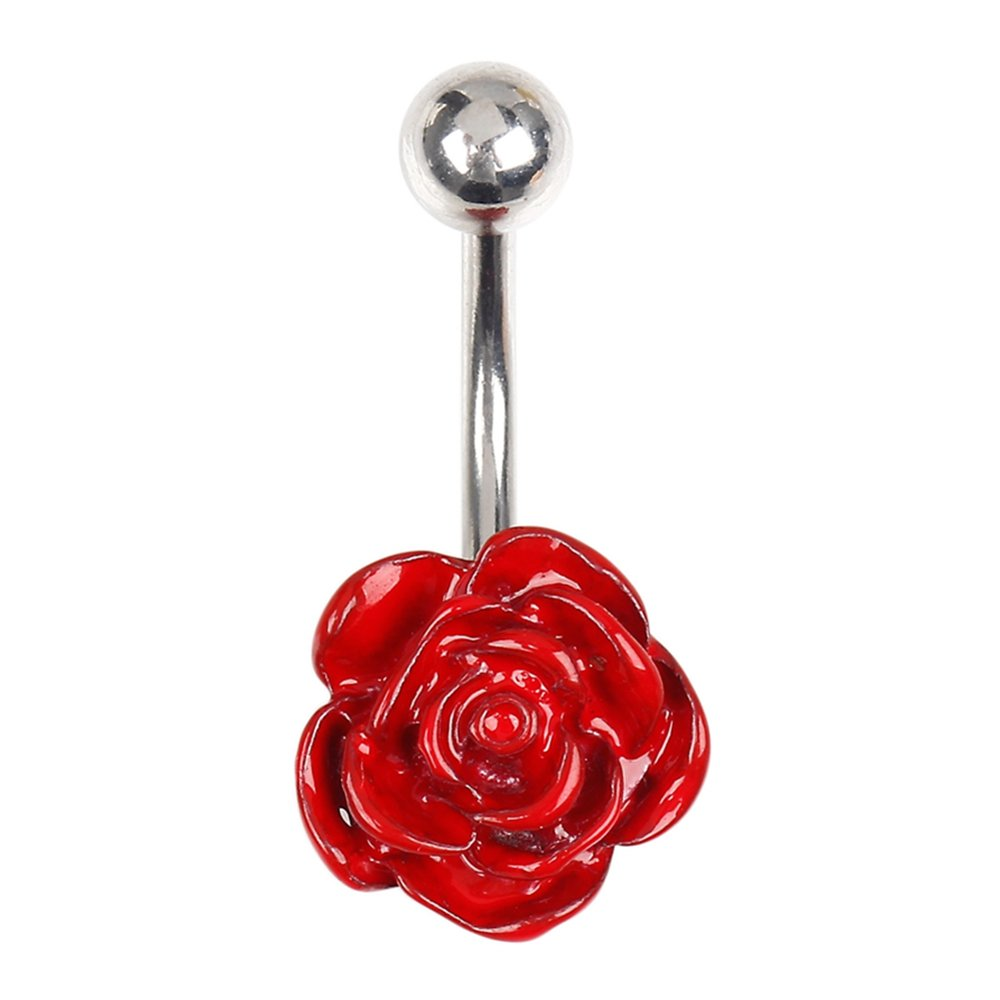 BODYA Stainless Steel Enamel Rose Flower Belly Button Rings Body Jewelry Piercings Navel Rings Barbells Piercings JW4159