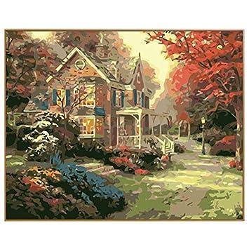 Landscape Garden Diy Imagen Digital Por Números Dibujo Para Colorear Sobre Lienzo Pintura Al Óleo Por Números Kits Artes De Pared Marco Opcional 40X50CM: ...