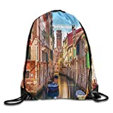 FYW European Cityscape Venice Cityscape Narrow Water Canal Church Traditional Old Buildings Heritage Drawstring Bags Sports Backpack For Teens College
