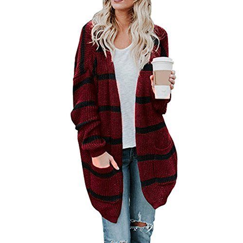 Jacket Long Clothing Winter Fashion Coat Autumn Sleeve Crochet Tianya Sweater Wine Cardigan Knitted Stripe Womens YOq1gS
