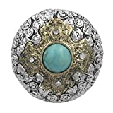 Large Western Look Dome Cross Rhinestones Statement Stretch Cocktail Ring (Imitation Turquoise Center 2 tone)