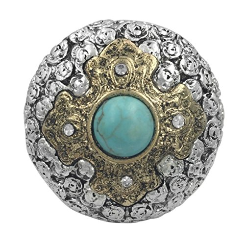 Large Western Look Dome Cross Rhinestones Statement Stretch Cocktail Ring (Imitation Turquoise Center 2 ()