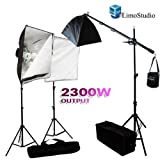 LimoStudio Photography 2300W Digital Video Photo Studio Softbox Light Kit with Overhead Hair Light Boom Kit and Carrying Case, AGG110