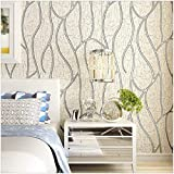 QIHANG Modern Luxury 3D Thick Non-woven Imitation Deerskin Deep Embossed Curve Pattern Living Room/TV Background Wallpaper Roll 1.73' x 32.8'=57 square feet (Cream)