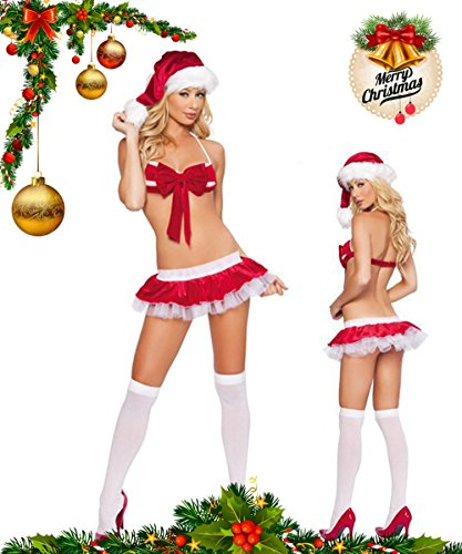(Christmas Party Nightclubs Costumes Sexy Red Christmas Costume Three-Point Field Christmas Dress Santa Clothes Cosplay (Bikini)