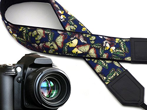 - Silky Butterflies Camera Strap. Dark Blue Camera Strap DSLR. Camera Accessories by InTePro. Code 00253