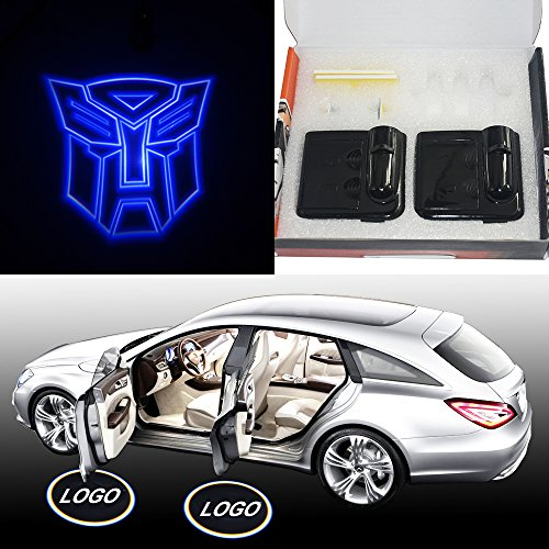 (Spoya Blue The Transformers Autobots Wireless Magnetic Car door step LED welcome logo shadow light projection projector light)