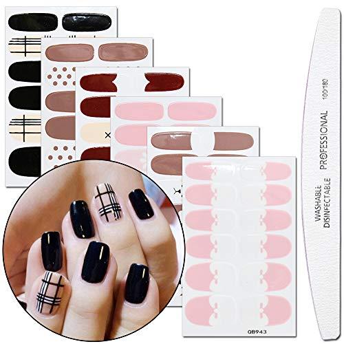 WOKOTO 6 Sheets Lovely Nail Art Polish Wraps Stickers Tips With 1Pcs Nail File Adhesive Nail Decal Strips Manicure Kits