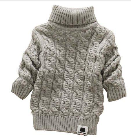 Boys Girls Turtleneck Sweaters Soft Warm Childrens Sweater (1-2 years, grey)