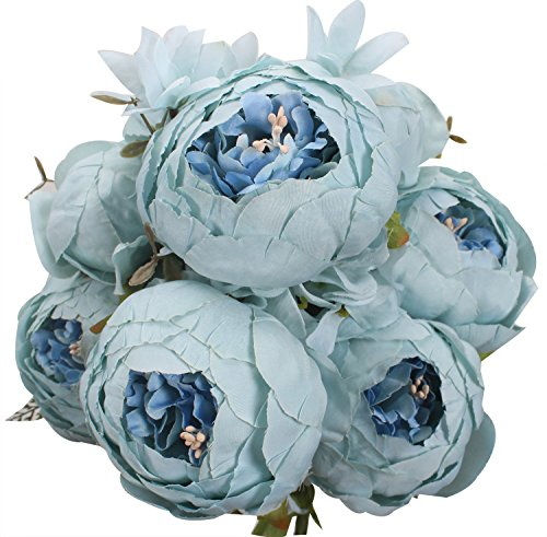 XIUER Vintage Artificial Flowers Fake Peony Flowers Bouquet Glorious Wedding Home Bridal Decoration (Spring Blue) (Cut Peony Flowers)