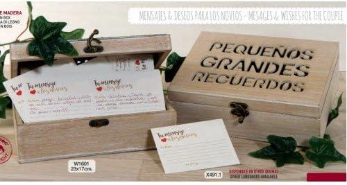 Caja de mensajes y deseos para los novios PERSONALIZADA + 100 tarjetones + boli GRABADO complementos boda: Amazon.es: Hogar