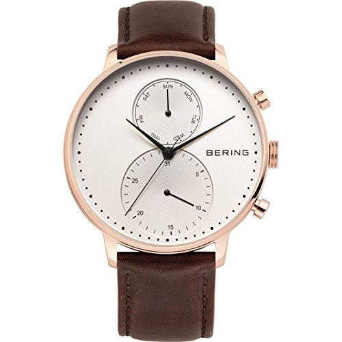 BERING Time 13242-564 Mens Classic Collection Watch with Calfskin Band and scratch resistant sapphire crystal. Designed in Denmark.