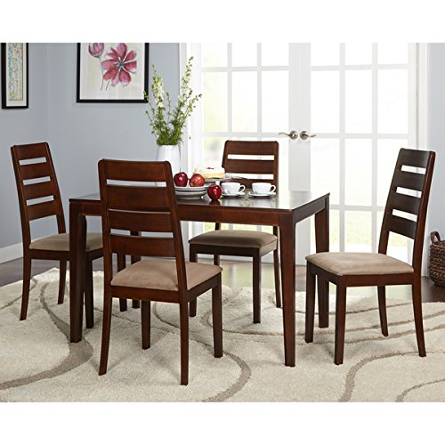 Simple Living 5-Piece Newbury Dining Set, Features an Espresso Finish | Crafted From Solid Rubberwood