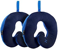 BCOZZY Chin Supporting Patented Travel Pillow - Prevents The Head from Falling Forward in Any Sitting Position, Providing Comfort and Support for The Neck and Head. Adult Size, Set of 2 (Navy + Navy)