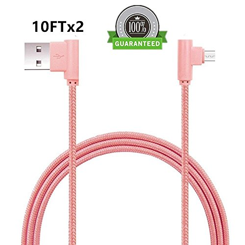 - FOLICE Micro USB Cable, [2 Pack] Right Angle 90 Degre Nylon Braided Charger Cable for Samsung Galaxy S7/S6/S5/Edge,Note 5/4/3,HTC,LG,Nexus and More (Pink, 10FTx2)