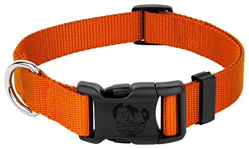 Country Brook Petz 25+ Classic Solid Colors - Deluxe Nylon Dog Collar - Quick Release Buckle, Strong Hardware - Made in The U.S.A. (Large, 1 Inch Wide, Orange)