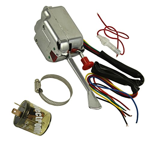 JDMSPEED New Chrome 12V Universal Street Hot Rod Turn Signal Switch For Ford GM With Flasher