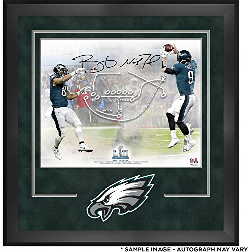 """Nick Foles & Trey Burton Philadelphia Eagles Deluxe Framed Dual-Signed 16"""" x 20"""" Super Bowl LII Champions Philly Special Photograph - Fanatics Authentic Certified"""
