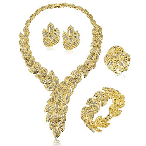 FAUOI Womens Luxury Africa Dubai 18k Gold Plated Jewelry Sets Wedding Rhinestone Crystal Bib Statement Necklace Earrings Set for Brides Party Prom
