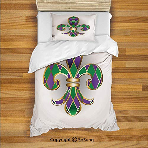 (Fleur De Lis Decor Kids Duvet Cover Set Twin Size, Gold Colored Lily Symbol with Diamond Shapes Royalty Theme Ancient Art 2 Piece Bedding Set with 1 Pillow Sham,Gold Purple Green)