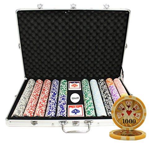 MRC 1000pcs High Roller Laser Poker Chips Set with Aluminum Case Custom Build by Mrc Poker