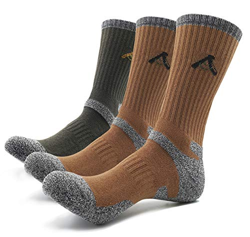 PEACE OF FOOT Hiking Socks boot socks For Mens 6(5+1) Pairs Multi Outdoor Sports Trekking Climbing Camping working Crew Socks (D-brown 2, D-green 1, Mens shoe size 10.5~13)