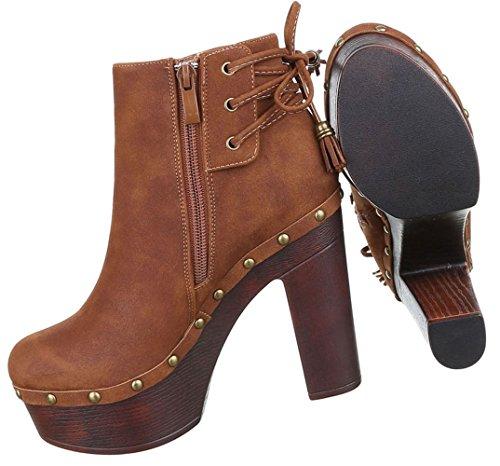Damen Boots Schuhe High Heels Plateau Stiefeletten Schwarz Beige Braun 36  37 38 39 40 41 ...