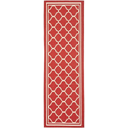 (Safavieh Courtyard Collection CY6918-248 Red and Bone Indoor/ Outdoor Runner (2'3