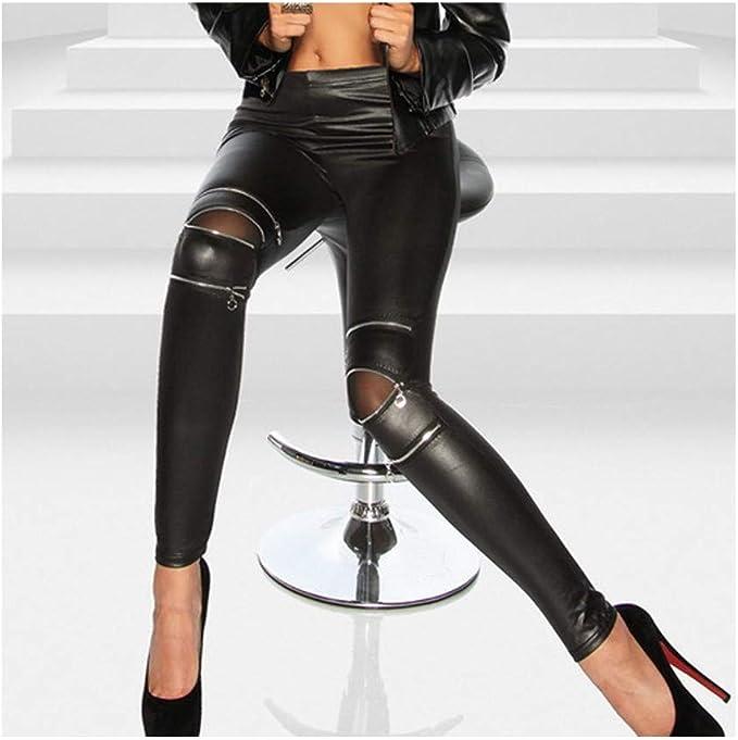 Damenmode Casual PU WetLook Leggings Hohe Taille Strumpfhose Damen Leggins Hose