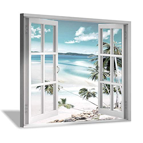 (Open Windows Canvas Wall Art: Beach with Coastal Palm Graphic Artwork Print on Wrapped Canvas for Wall Decor(24''x18''))