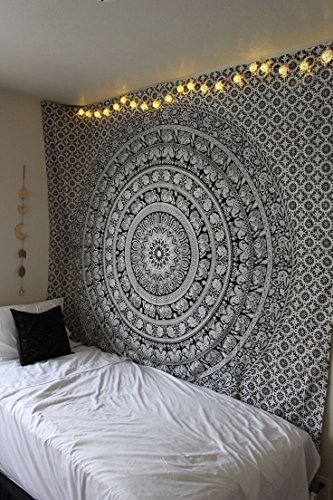 Marubhumi Indian Elephant Mandala Indian Traditional Hippie Cotton Tapestry, Black and White, 85 x 90 Inches
