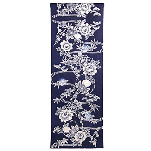 カロリー課税に渡って浴衣反物 レディース -568- ゆったりサイズ 綿麻 注染 伊勢型紙 紺色 花柄 日本製