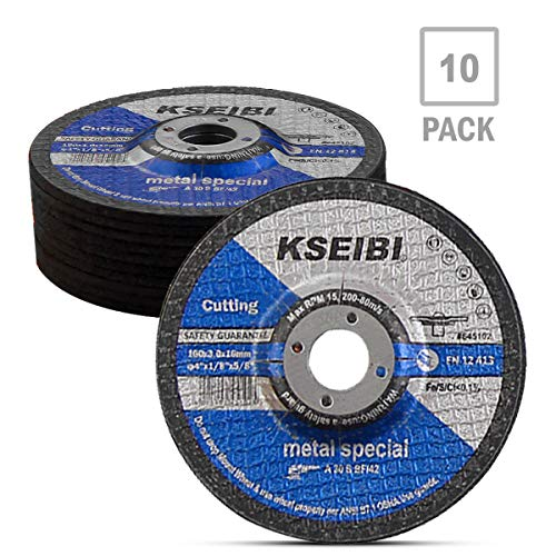 KSEIBI 645102 4-Inch by 1/8-Inch Metal Cutting and Grinding Disc Depressed Center Cut Off Grind Wheel, 5/8-Inch Arbor, 10-Pack ()