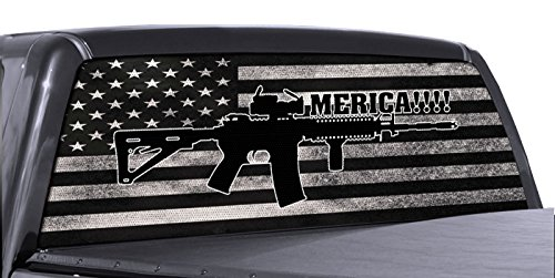 FGD Brand AR 15 Merica Truck Rear Window Wrap Black & White Distressed American Flag Perforated Vinyl Decal