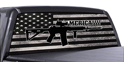 - FGD Brand AR 15 Merica Truck Rear Window Wrap Black & White Distressed American Flag Perforated Vinyl Decal