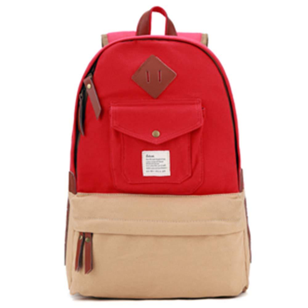 ブリティッシュカレッジ風のバックパックキャンバスショルダーバッグ女性のファッショントレンド中学校の学生バッグカジュアルコンピュータバッグの日本語と韓国語版 B07LD5B82J Red with khaki