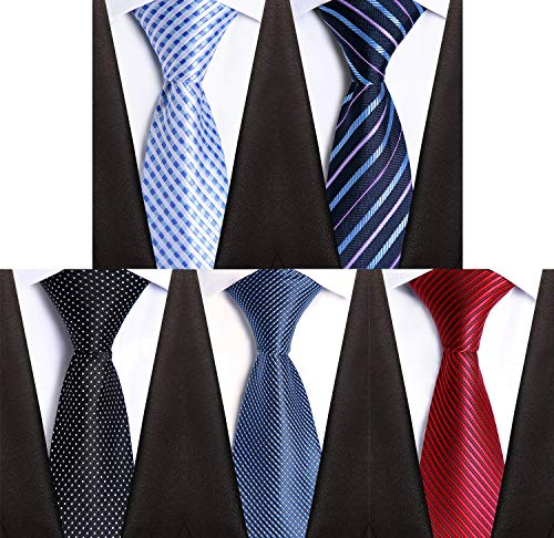 HBY Men's Ties 5 Pack Classic Necktie Set multi color necktie
