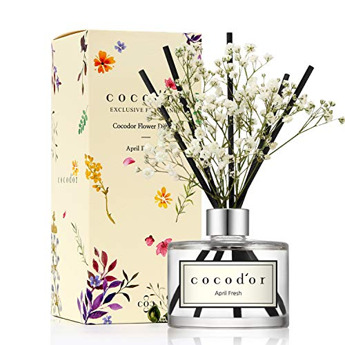 (Cocod'or Preserved Real Flower Diffuser/April Fresh/6.7oz/Diffuser Oil & Sticks Set/Fragrance for Home Office Aromatherapy and Gifts)