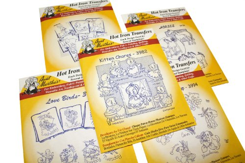 Vintage Iron On Transfers - Aunt Martha's Iron On Transfer Patterns for Stitching, Embroidery or Fabric Painting, Cute Vintage Animal Patterns for Tea Towels or Quilting, Set of 5