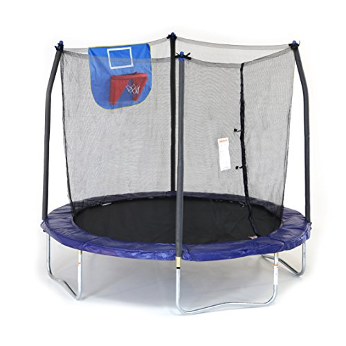 Skywalker Trampolines Jump N' Dunk Trampoline wit Basketball Hoop Blue 8-Feet